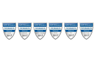 JA Solar was awarded the seals of Top Brand PV Seal 2017 in Europe, Top Brand PV Seal 2017 in Switzerland, Top Brand PV Seal 2017 in Netherlands, Top Brand PV Seal 2017 in United Kingdom